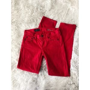 J.CREW vibrant red matchstick straight jeans